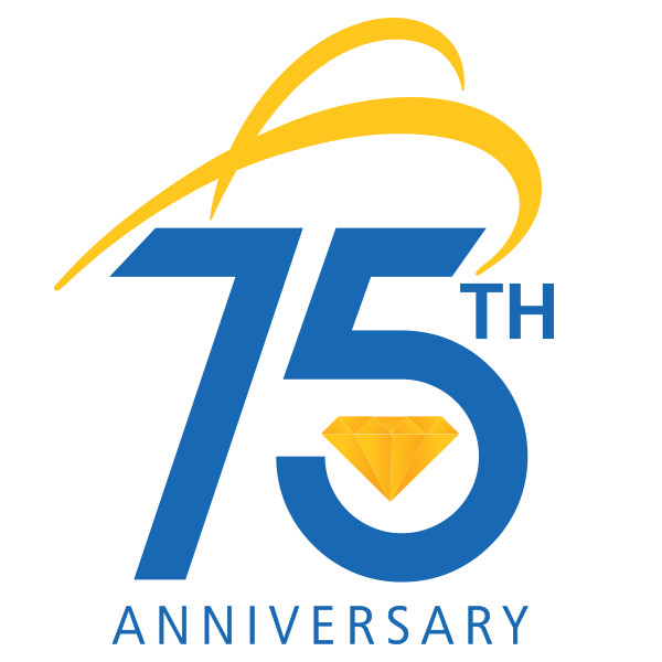 75th anniversary logo with diamond and swoosh